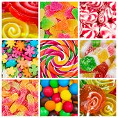 pic of bonbon  - Collage of different colorful candy and sweets - JPG