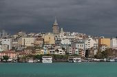 stock photo of nu  - Galata Tower on a rainy day - JPG