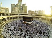 picture of kaaba  - Muslim people praying at Kaaba in Mecca - JPG