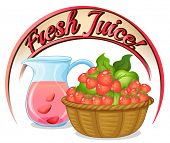 Illustration of a fresh juice label with a basket of strawberries on a white background