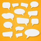 Set of various abstract speech bubbles on orange background