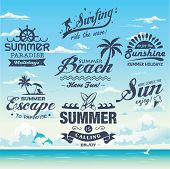 stock photo of dolphins  - Collection of vintage retro grunge summer labels - JPG