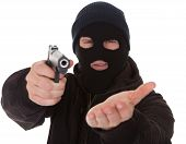 picture of mobsters  - Burglar Wearing Mask Aiming Gun Towards Camera - JPG