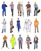 stock photo of bricklayer  - Industrial construction workers - JPG
