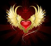 stock photo of gothic hair  - bright red heart of an angel with golden wings shining in the dark radiant red background decorated with a pattern - JPG