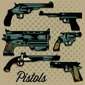 stock photo of crossed pistols  - Six creative design of Pistols Cartoon Collection - JPG