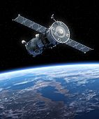 picture of orbit  - Spacecraft Orbiting Earth - JPG