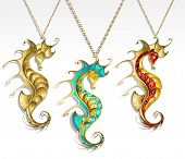 picture of seahorses  - three gold jewelry inlaid seahorse turquoise and red paint with a shiny gold chain - JPG