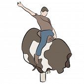 picture of bull riding  - An image of a man riding a mechanical bull - JPG