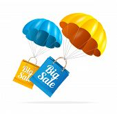 stock photo of parachute  - Vector sale labels with parachute - JPG