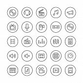 pic of musical symbol  - Flat thin line icons set modern design style vector collection of multimedia symbols sound and music instruments audio and video items and objects - JPG