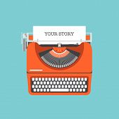 image of fiction  - Flat design style modern vector illustration concept of a manual vintage stylish typewriter with share your story text on a paper list - JPG