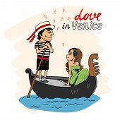 foto of gondolier  - Love in Venice between a handsome gondolier and pretty young woman taking a trip in the gondola looking into each others eyes with hearts and text  - JPG