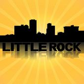 Little Rock skyline reflected with sunburst illustration