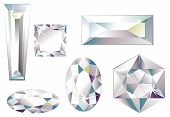 stock photo of marquise  - Vector illustration of different cut diamonds isolated on white - JPG