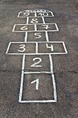 stock photo of hopscotch  - Cells for game hopscotch drawn with chalk on the pavement - JPG