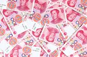 foto of yuan  - Chinese yuan renminbi banknotes close - JPG
