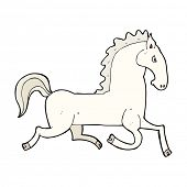cartoon running white stallion
