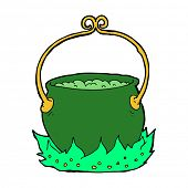 stock photo of cauldron  - cartoon witch - JPG