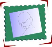 stock photo of gandhi  - Illustration of  green  stamp with Gandhi head - JPG
