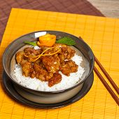 image of crispy rice  - Homemade Orange Chicken with Rice - JPG