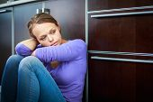 stock photo of drama  - Depressed young woman - JPG