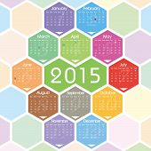 stock photo of hexagon pattern  - Vector 2015 calendar with color hexagon pattern - JPG