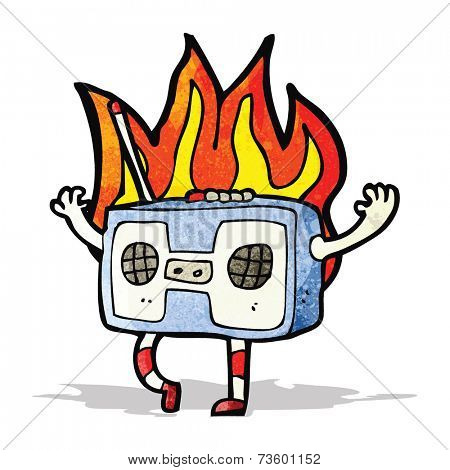 cartoon old tape player on fire