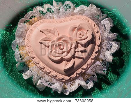Heart Handmade Decoration With A Rose In The Middle And Lace Around