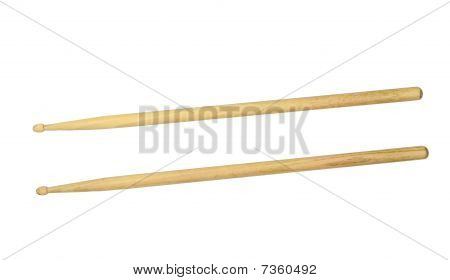 Two Drumsticks Over White With Clipping Path