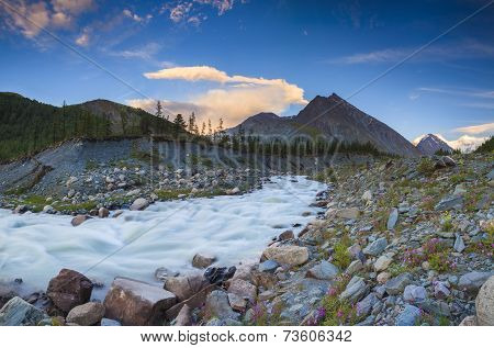 River With Cascades On The Background Of The High Mountains