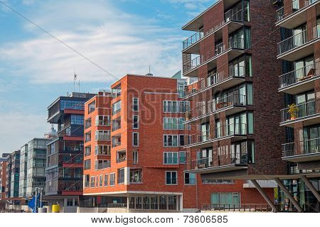 Modern buildings in the Hafencity