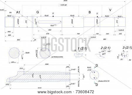 Engineering drawing of steel shaft