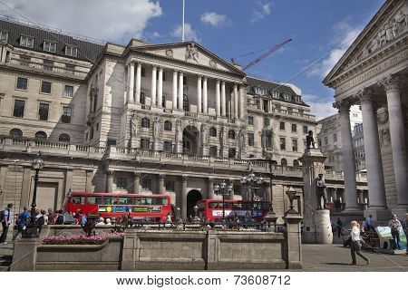 LONDON, UK - 22 AUGUST, 2014: Bank of England road