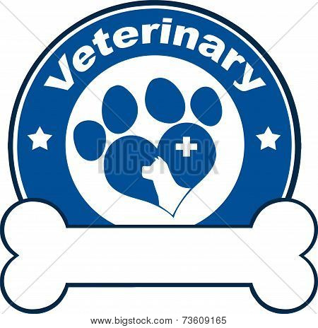Veterinary Blue Circle Label With Love Paw Dog, Cross And Bone Under Text
