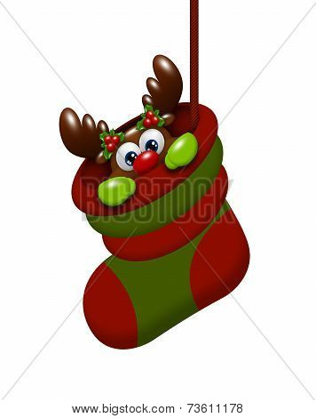Cartoon Reindeer In Christmas Sock Isolated Over White