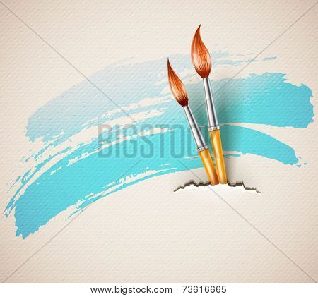 Brushes for drawing from torn textured paper art concept. Eps10 vector illustration