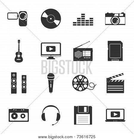 Multimedia Black And White Flat Icons Set