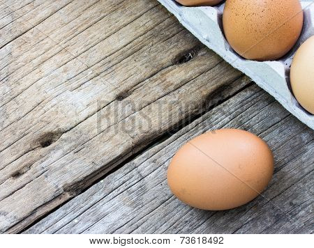 Chicken Egg On Wood And Chicken Egg In Panel Eggs On Wood