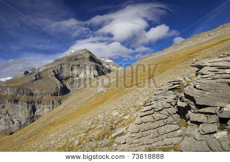 View of the massif of Monte Perdido in Ordesa National Park, Spain