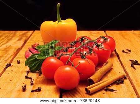 Tomato Branch And Paprica