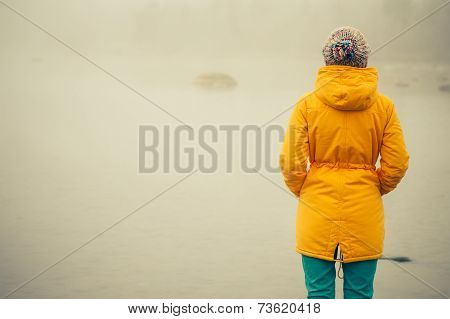 Young Woman standing alone outdoor Travel Lifestyle