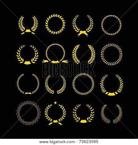 Gold vector laurel wheat floral and foliate wreaths