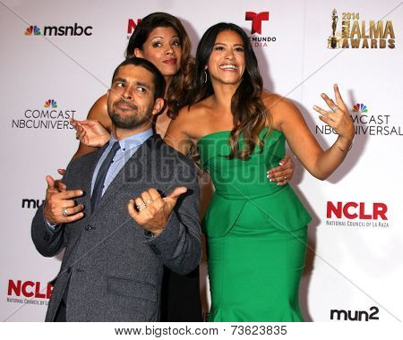LOS ANGELES - OCT 10:  Andrea Navedo, Wilmer Valderrama, Gina Rodriguez at the 2014 NCLR ALMA Awards Press Room at Civic Auditorium on October 10, 2014 in Pasadena, CA