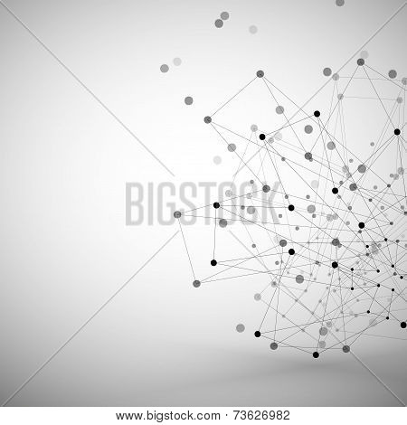 Molecule structure, gray background illustration for communication