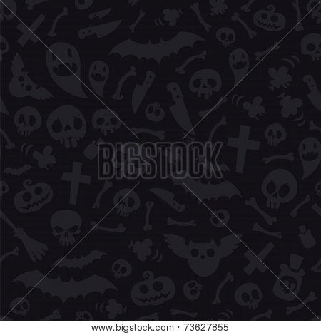 Halloween Symbols Seamless Pattern Dark