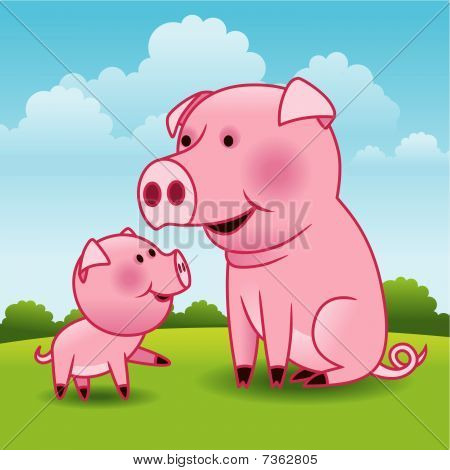 Mother Pig and Piglet