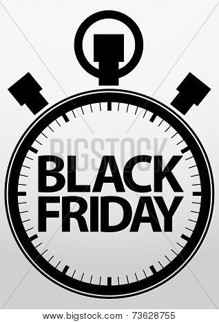 Black Friday stopwatch Icon, Vector Illustration