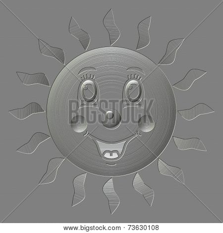 Happy Sun Metal Relief Generated Texture