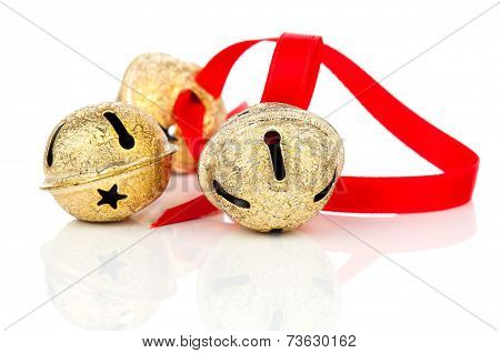 Christmas Jingle Bell With Red Ribbon